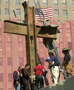 look what was left from a building from 9/11 a perfect cross. God WAS there.