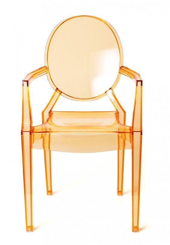 Milano Republic Furniture Pty Ltd   Replica Louis Ghost Chair   Transparent  Orange, $129.00 (
