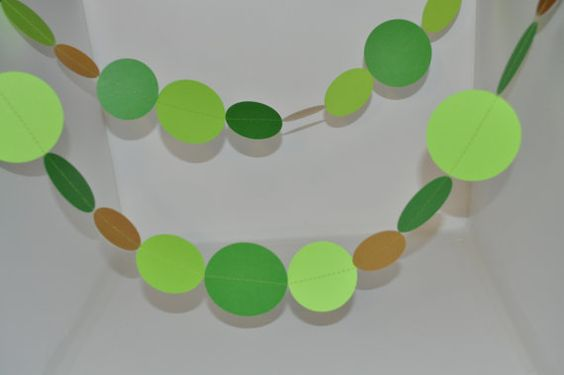 Paper Garland in Green and Gold by Hot4Handmade on Etsy