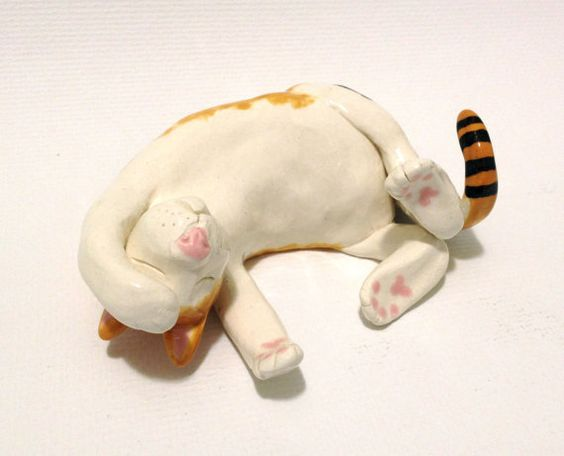 Ceramic Cat Sculpture Sleeping Hand Built by CindiHale on Etsy