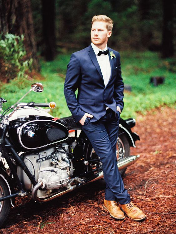 Handsome Groom with a Vintage Motorcycle | Perry Vaile Photography | http://heyweddinglady.com/fine-art-adventure-loving-redwood-elopement/