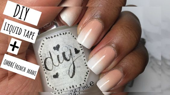 DIY Liquid Tape + NAIL ART Ombré French Manicure DIY peel off tape for skin manicure francais gradient ombre french manicure mani  pedicure easy tutofacile naidesign mimie cherie chérie