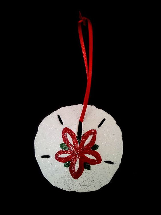 hand painted sand dollar chrismas ornament by