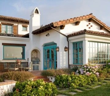 Spanish Style House; Copper Accents, Tile Roof, Light Brick, Grey Green  Trim | Exterior House | Pinterest | Spanish Style Houses, Roof Light And  Copper ...