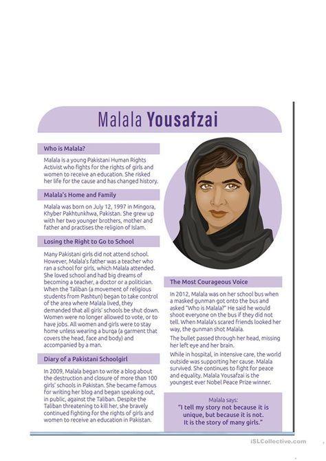 Reading Comprehension Malala Yousafzi Com Imagens Aulas De
