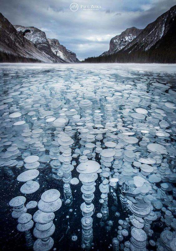 The ice bubbles of Lake Minnewanka
