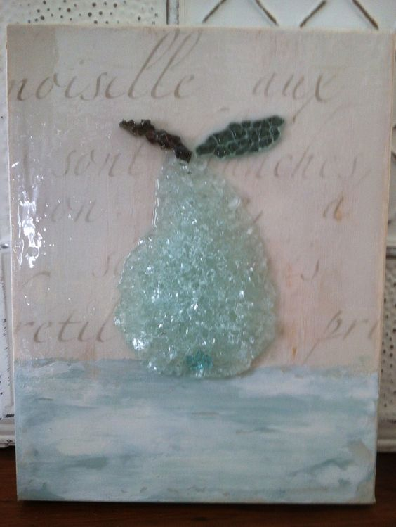 Painted canvas and crushed glass pear art shattered by for Broken glass crafts