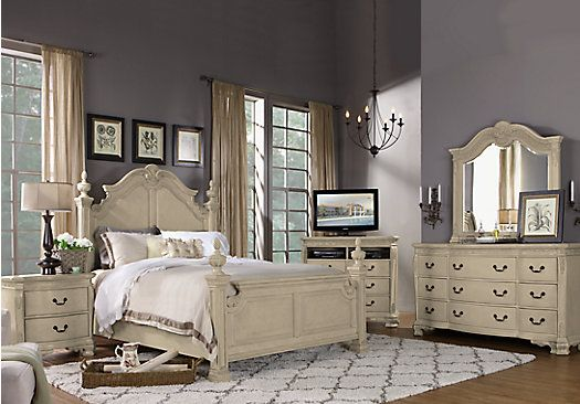picture of Cortinella Cream 7 Pc King Poster Bedroom from ...