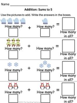 Winter Addition & Subtraction Within 5 | Subtraction worksheets ...