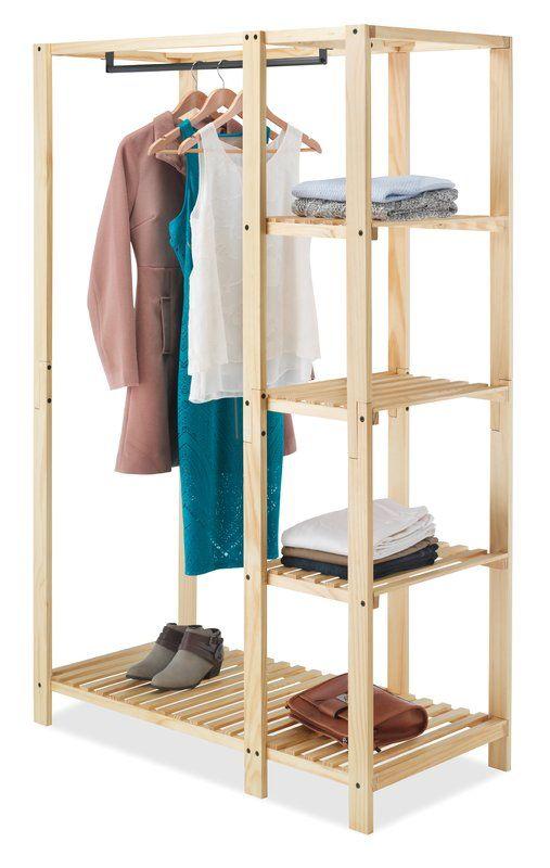 Wooden Clothes Rack With Shelves Golaria Com In 2020 Wooden Clothes Rack Clothes Cabinet Clothing Rack