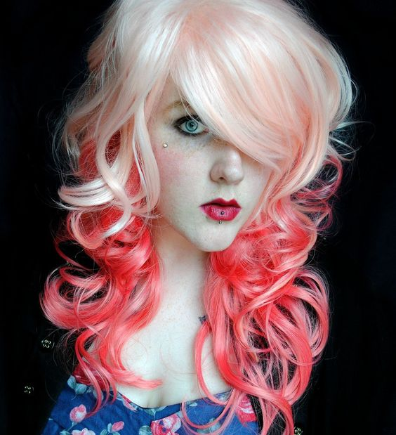SHOP-WIDE SALE Peaches and Cream wig // Pink // Wavy Lolita Scene Sexy Pin Up Hair. $88.00, via Etsy.