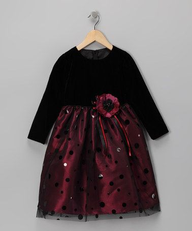 Take a look at this Black & Burgundy Floral Long-Sleeve Dress - Toddler & Girls by Pretty Me on #zulily today!