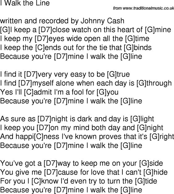 Old time song lyrics with chords for I Walk The Line G | Guitar ...