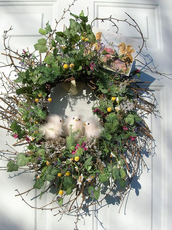 CountryPrimitive Peeps Easter Holiday Door by sandys4899florals