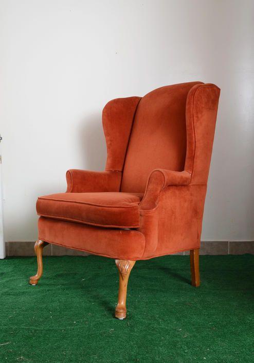 Vintage Orange Velvet Wingback Arm Chair By Fingerlickingvintage
