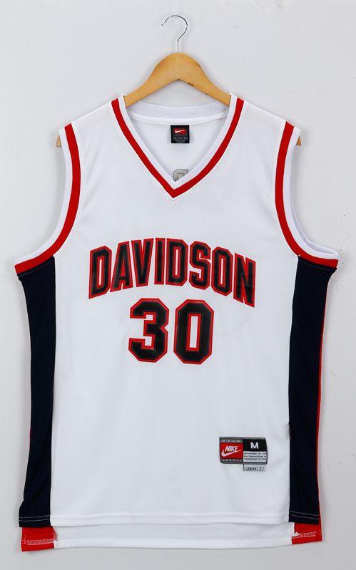 ncaa basketbal jerseys davidson wildcats 30 stephen curry white basketball  stitched ncaa jerseys