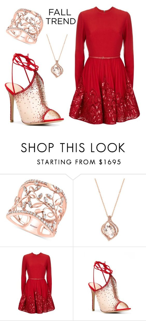 """""""Rose Gold & Red"""" by leiastyle on Polyvore featuring Effy Jewelry, Elie Saab, Gianvito Rossi and rosegold"""