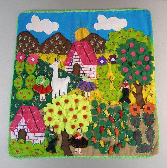 TREASURES OF SUMMER Folk Art Applique Arpilleria Wall Tapestry~Hand Made Peru