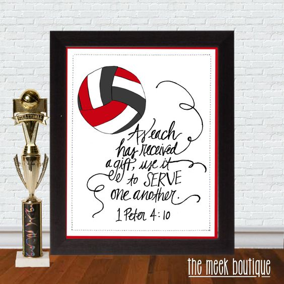 Motivational Quotes For Sports Teams: INSTANT DOWNLOAD, Scripture Printable, Volleyball, Serve