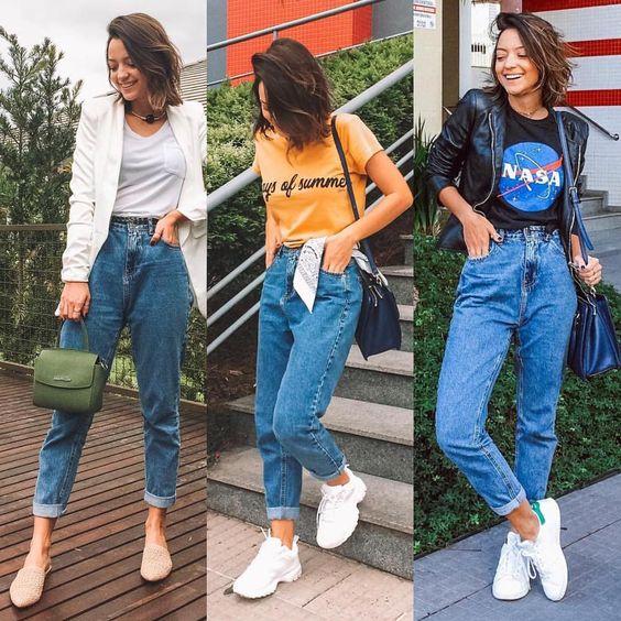 """737 curtidas, 11 comentários - 1 PEÇA 3 LOOKS (@1peca3looks) no Instagram: """"Não é uma novidade que o mom jeans é a sensação do street style, mas o fato é que ele está longe de…"""""""
