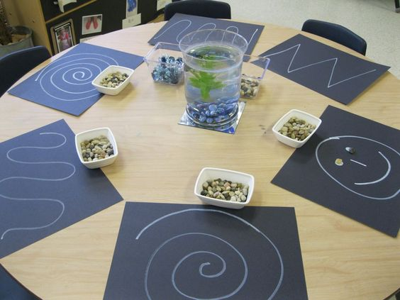 Fine motor-Have children place small objects(beads,pebbles,etc)on pre-drawn pictures.