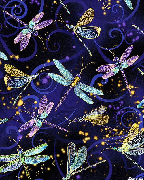 Dragonfly Dance Moonlit Flight Quilt Fabrics From Www Equilter Com Dragonfly Painting Dragonfly Artwork Dragonfly Art