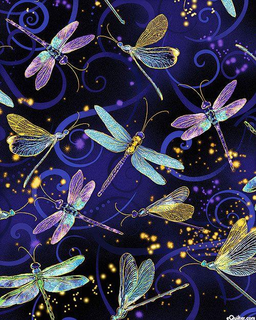Dragonfly Dance Moonlit Flight Quilt Fabrics From Www Equilt