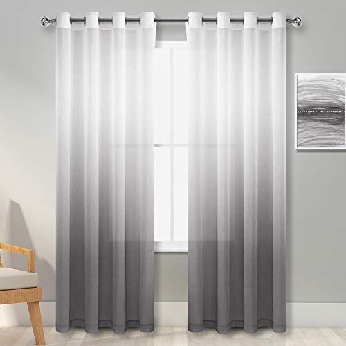 Hiasan Grey Ombre Sheer Curtains 84 Inches Long Faux Linen Voile Grommet Window Curtains For Bedroom And In 2020 Sheers Curtains Living Room Sheer Curtains Curtains