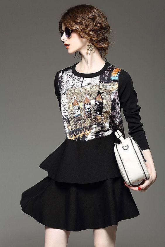 Doresuwe.com SUPPLIES 欧米セレブ愛用新品 2015早秋 スプライス プリント ケーキのスカート 2