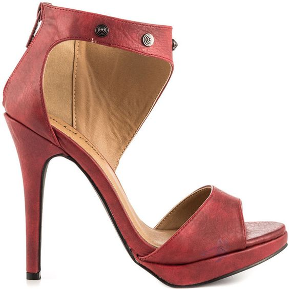 Michael Antonio Women's Rach - Red Pu (36 CHF) via Polyvore featuring shoes, red, high heels stilettos, red ankle strap shoes, red high heel shoes, stilettos shoes and red stilettos