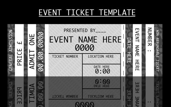 Event ticket template by for on for Concert ticket template free