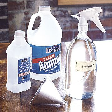 Glass Cleaner  Make your own streak-free glass cleaner by mixing a solution of 2 cups water, 2 cups rubbing alcohol, and 1/2 cup ammonia. Put the mixture in a spray bottle (32 ounces or larger) and use a clean, absorbent lint-free rag (soft cotton is ideal) to wipe the glass. The ammonia does most of the cleaning and the alcohol speeds up the drying time to help eliminate streaks: