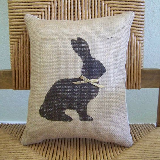 Chocolate Bunny pillow Rabbit pillow Easter by KelleysCollections