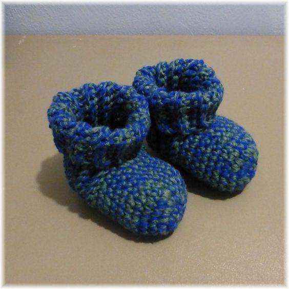 Crochet Slipper Socks Booties Blue Green Size 6 by DebbieCrochets