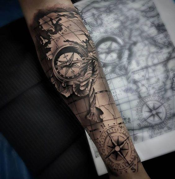 Tatuajes De Brujulas Estilos Mujer Hombre 239 Fotos Tatuajes Brujula Tatuaje Brujula Tatuajes De Mapa