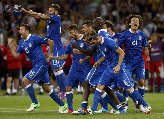 Italy's team players celebrate their victory after the penalty shoot-out of their Euro 2012 quarter-final soccer match against England at the Olympic Stadium in Kiev. EDDIE KEOGH/REUTERS