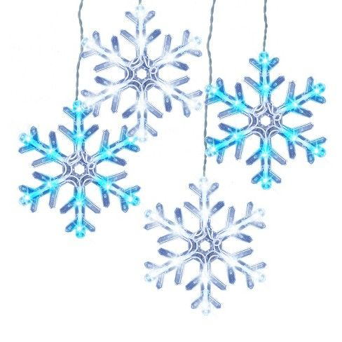 5ct Christmas Led 8 Function Snowflakes Lights Cool White
