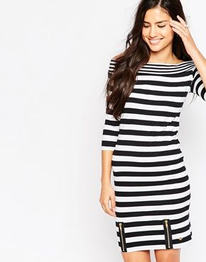 Lipsy Bardot Dress In Stripe