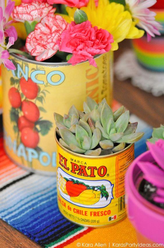 Succulents and food cans! Cinco De Mayo Mexican Fiesta by Kara Allen | Kara's Party Ideas | KarasPartyIdeas.com favors, decor, DIY ideas, recipes and more!