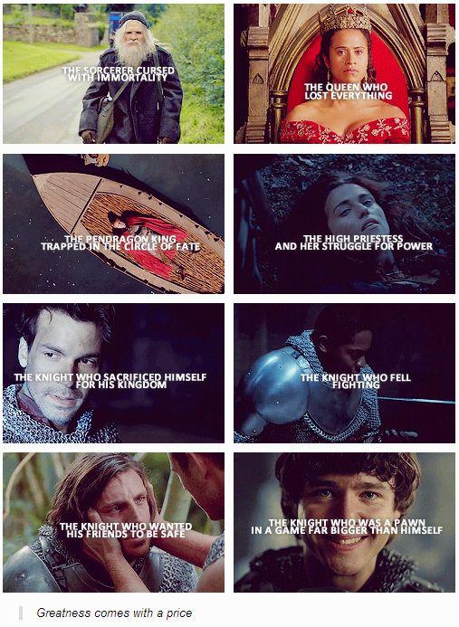 Merlin. Lancelot's should say sacrificed for Arthur/Gwen/Merlin