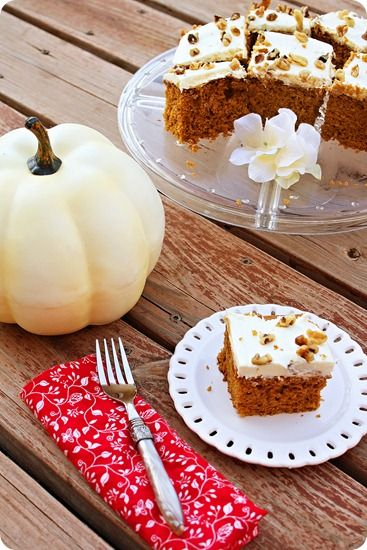 pumpkin spice cake with rich cream cheese frosting