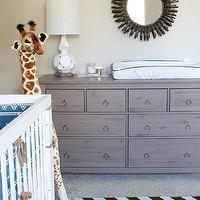 Erika Brechtel - nurseries - brass, ring, pulls, hemnes dresser, gray hemnes dresser, gray dresser, gray changing table, grey dresser, grey ...