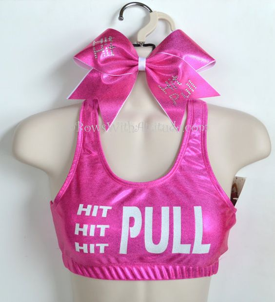 SET Pink Metallic HIT/PULL Sports Bra with Matching Rhinestone Bow on Etsy, $39.95