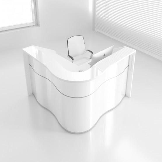 Wave Luv36 Reception Desk High Gloss White High Gloss White High Gloss White Desk White Office Furniture