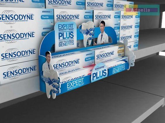 Carlos: PLV Sensodine que resalta sobre el expositor y nos hara fijarnos en la pasta de dientes.