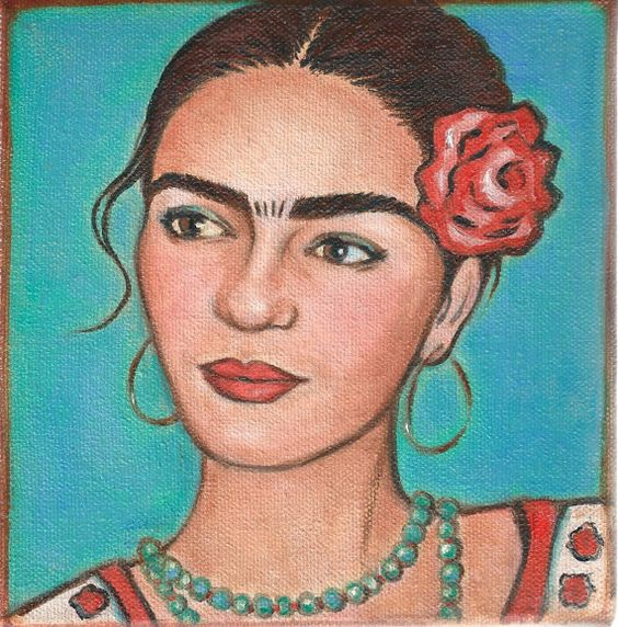 Frida Kahlo With Red Rose  Premium Canvas Wrap by FridaKahloArt