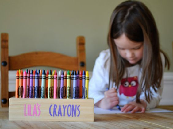 personalized wooden crayon holder crayon organizer for kids