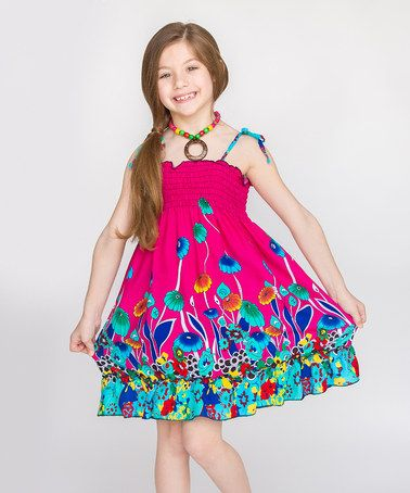 Another great find on #zulily! Fuchsia Floral Shirred Dress & Necklace - Toddler & Girls #zulilyfinds