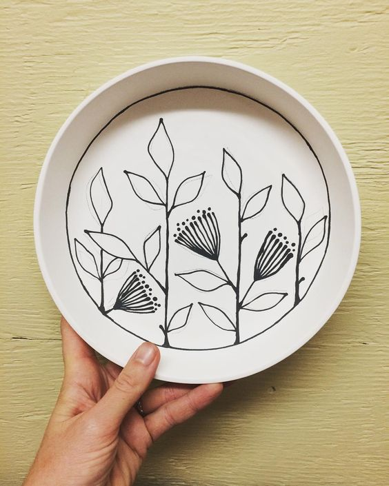 """""""Laying down the lines. Thistle catchall tray."""" 
