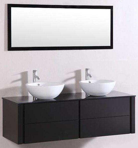 Badkamermeubel 9012 120 Cm Kleur Zwart Met Keramieke Waskommen En Spiegel Badkamermeubel Badkamermeubel Zwart Badkamermeubel Maken